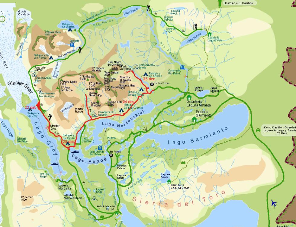 карта торрес дель пайне